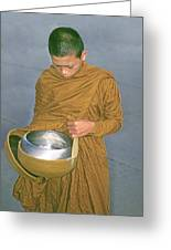 Young Monk Begging Alms And Rice, Thailand Greeting Card