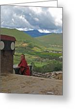 Young Monk Looking Over His Shoulder Greeting Card