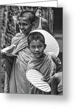 Young Monks 2 Bw Greeting Card