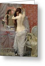 Young Nude Woman Styling In An Interior Greeting Card