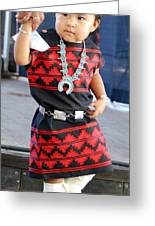 Young  Participant Of Native American Clothes Contest  Greeting Card