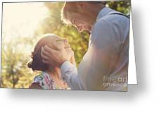 Young Romantic Couple Flirting In Sunshine Greeting Card