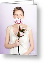 Young Romantic Woman With Lotus Flowers Greeting Card