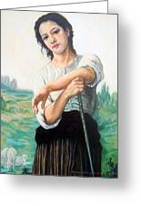 Young Shepherdess Standing After W.bouguereau Greeting Card