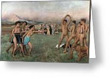 Young Spartans Exercising Greeting Card