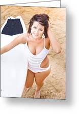 Young Surfer Woman Greeting Card