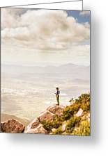 Young Traveler Looking At Mountain Landscape Greeting Card