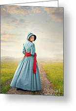 Young Victorian Woman On A Country Path Greeting Card