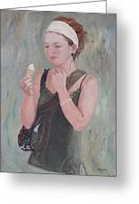 Young Woman And Ice-cream Greeting Card