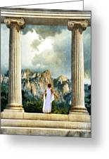 Young Woman As A Classical Woman Of Ancient Egypt Rome Or Greece Greeting Card