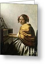 Young Woman At A Virginal Greeting Card