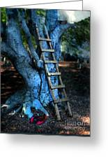 Young Woman Climbing A Tree Greeting Card