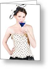 Young Woman Drinking Alcoholic Beverage Greeting Card