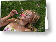 Young Woman Having Fun In Summer Greeting Card
