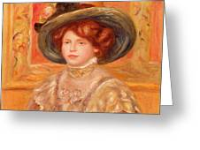 Young Woman In A Blue Hat Greeting Card