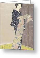 Young Woman In A Summer Kimono, 1920 Greeting Card