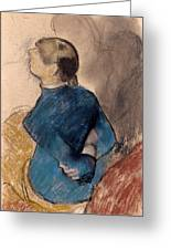 Young Woman In Blue Greeting Card