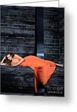 Young Woman In Long Orange Dress Greeting Card