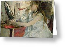 Young Woman Powdering Her Face Greeting Card by Berthe Morisot