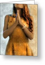 Young Woman Praying Greeting Card