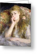 Young Woman Seated Greeting Card by Pierre Auguste Renoir
