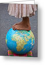 Young Woman Standing On Globe Greeting Card
