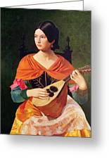 Young Woman With A Mandolin Greeting Card