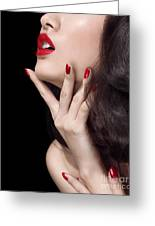 Young Woman With Red Lipstick Sensual Closeup Of Mouth Greeting Card