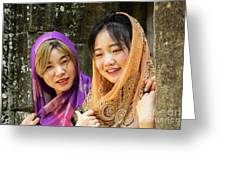 Young Women Silk Scarves 01 Greeting Card