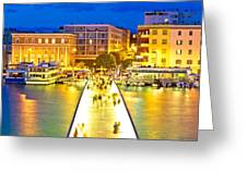 Zadar Colorful Blue Evening View Greeting Card
