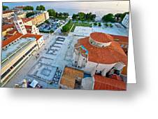 Zadar Forum Square Ancient Architecture Aerial View Greeting Card