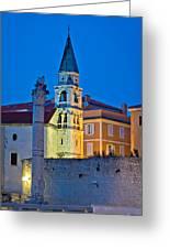Zadar Landmarks Evening Vertical View Greeting Card