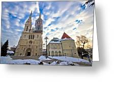 Zagreb Cathedral Winter Daytime View Greeting Card