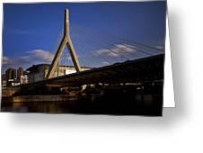 Zakim Bridge And Boston Garden At Sunset Greeting Card
