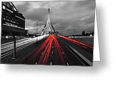 Zakim Bridge And Td Garden Boston Ma Red Tail Lights Greeting Card
