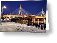 Zakim Bridge In Winter Greeting Card