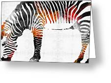 Zebra Black White And Red Orange By Sharon Cummings  Greeting Card