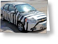 Zebra Car Front Greeting Card