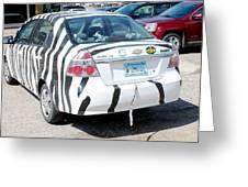 Zebra Car Rear Greeting Card
