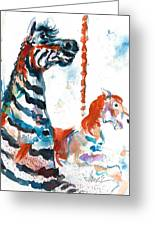 Zebra Gets A Ride The Ocean City Boardwalk Carousel Greeting Card