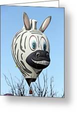 Zebra Hot Air Balloon At Balloon Fiesta Greeting Card