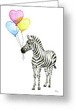 Baby Zebra Watercolor Animal With Balloons Greeting Card