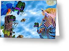 Zebras Birds And Butterflies Good Morning My Friends Greeting Card