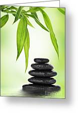 Zen Basalt Stones And Bamboo Greeting Card by Pics For Merch