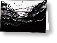 Zen Sumi Midnight Mountain Lake Original Black Ink On White Canvas By Ricardos Greeting Card by Ricardos Creations
