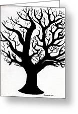 Zen Sumi Tree Of Life Enhanced Black Ink On Canvas By Ricardos Greeting Card