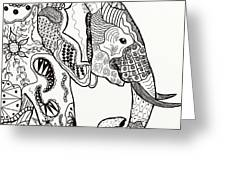 Zentangle Elephant Greeting Card by Becky Herrera