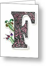 Zentangle Inspired F #1 Greeting Card