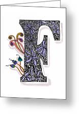 Zentangle Inspired F #2 Greeting Card