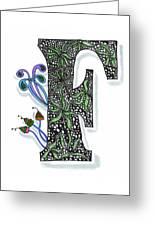 Zentangle Inspired F #3 Greeting Card